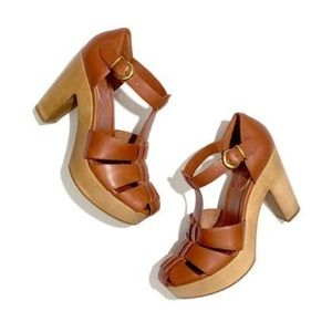 Madewell cognac leather and wood the andie sandal